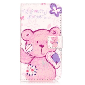 Embossed Leather Wallet Case for Huawei Y6 Pro / Enjoy 5 - Adorable Bear