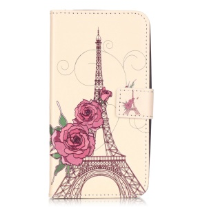 Embossed Leather Wallet Shell for Huawei Y6 Pro / Enjoy 5 - Flowers and Eiffel Tower