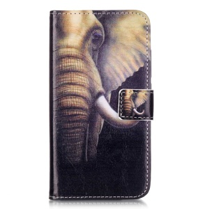 Embossed PU Leather Stand Case for Huawei Y6 Pro / Enjoy 5 - Elephant Pattern