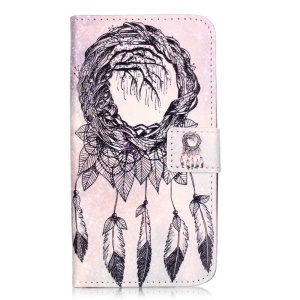 Embossed Card Holder Leather Cover for Huawei Y6 Pro / Enjoy 5 - Dream Catcher