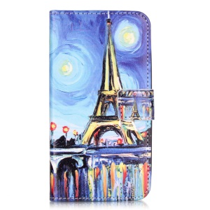 Embossed Leather Protector Case for Huawei Y6 Pro / Enjoy 5 - Starry Sky and Eiffel Tower