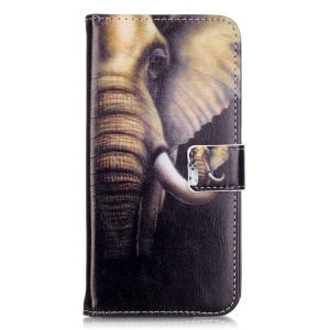 Embossed Leather Card Holder Case for Huawei Honor 5c - Elephant Pattern
