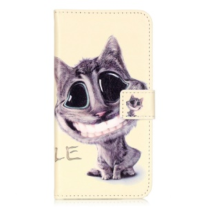 Embossed Leather Card Holder Case for Huawei Honor 5c - Lovely Cat