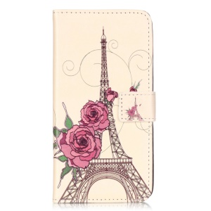 Embossed Leather Card Holder Case for Huawei Honor 5c - Flowers and Eiffel Tower
