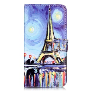 Embossed Leather Card Holder Case for Huawei Honor 5c - Starry Sky and Eiffel Tower