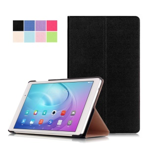 Sand-like Texture Stand Leather Case for Huawei MediaPad T2 10.0 Pro - Black
