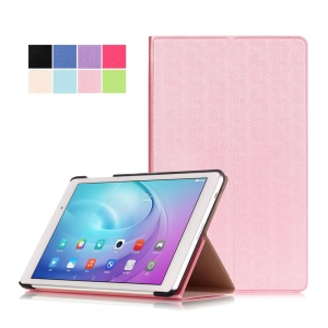 Sand-like Texture Stand Leather Shell for Huawei MediaPad T2 10.0 Pro - Pink