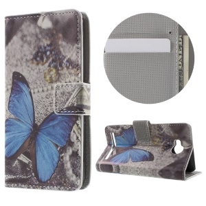 Wallet Leather Stand Case for Huawei Y3II - Blue Butterflies