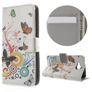 Wallet Leather Stand Cover for Huawei Y3II - Butterfly Circles