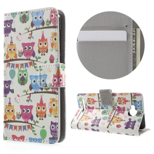 Wallet Leather Stand Case for Huawei Y3II - Multiple Owls