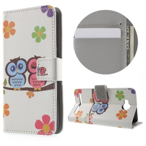 Leather Stand Case with Card Slots for Huawei Y3II - Owls and Flowers