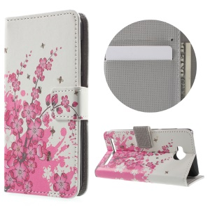Leather Stand Cover with Card Slots for Huawei Y3II - Plum Blossom