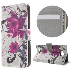 Phone Leather Stand Case for Huawei Y3II - Purple Flowers