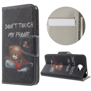Patterned Leather Flip Wallet Case for Huawei Y5II - Do Not Touch My Phone and Cool Bear