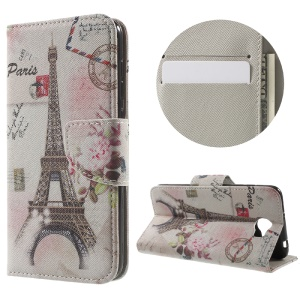 Patterned Leather Cover Card Holder for Huawei Y5II - Postcard Style Eiffel Tower