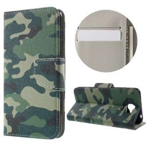 Patterned Stand Leather Flip Cover for Huawei Y5II - Camouflage Pattern
