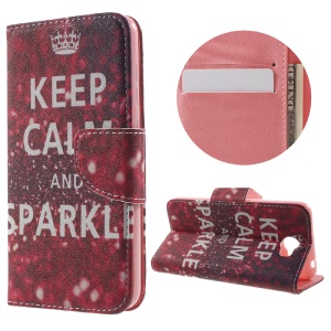 Patterned Wallet Leather Case Cover for Huawei Y5II - Keep Calm and Sparkle