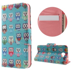 Patterned Leather Flip Case with Stand Card Slots for Huawei Y5II - Adorable Owls