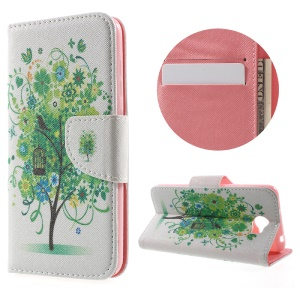 Patterned Leather Wallet Card Slot Cover for Huawei Y5II - Green Flowers Tree and Bird