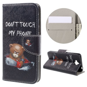Patterned Flip Leather Wallet Stand Cover for Huawei Y6 Pro / Enjoy 5 - Do Not Touch My Phone and Cool Bear