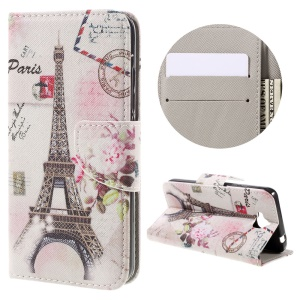 Patterned Stand Leather Wallet Shell for Huawei Y6 Pro / Enjoy 5 - Eiffel Tower