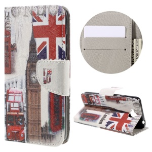 Illustration Leather Wallet Stand Case for Huawei Y6 Pro / Enjoy 5 - London Elements