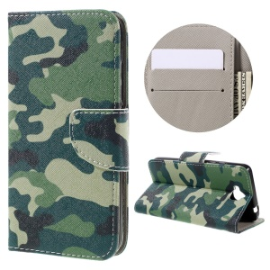 Illustration Leather Folio Protective Cover for Huawei Y6 Pro / Enjoy 5 - Camouflage Pattern