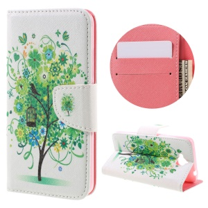 Pattern Printing Leather Wallet Stand Shell for Huawei Y6 Pro / Enjoy 5 - Green Flowers Tree and Bird