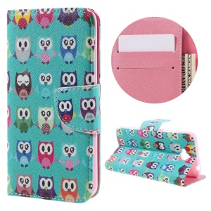Pattern Printing Leather Flip Phone Case for Huawei Y6 Pro / Enjoy 5 - Adorable Owls