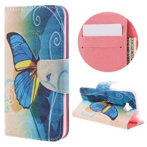 Illustration PU Leather Wallet Cover for Huawei Y6 Pro / Enjoy 5 - Beautiful Butterfly