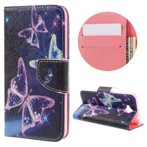 Diary Style PU Leather Wallet Stand Case for Huawei Y6 Pro / Enjoy 5 - Translucent Butterfly