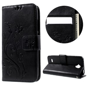 Floral Pattern Leather Case Wallet Stand with Hand Strap for Huawei Y5 Y560 - Black
