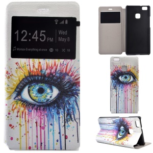 Fragrant Window Leather Stand Shell for Huawei P9 Lite/G9 Lite - Colorized Eye