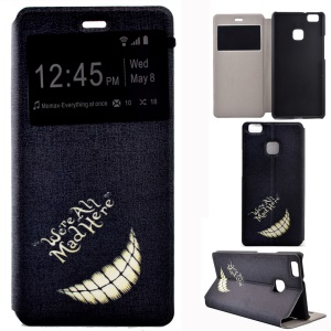 Fragrant Window Leather Stand Cover for Huawei P9 Lite/G9 Lite - Smiling Teeth and Quote