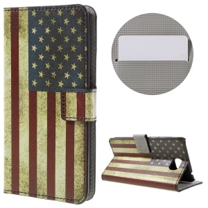 Stylish Illustration Leather Folio Phone Case for Huawei Y5II - Retro US Flag