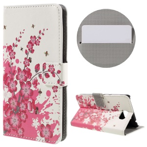 Stylish Patterned Stand Leather Wallet Case for Huawei Y5II - Plum Blossom