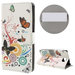 Stylish Pattern Printing Leather Folio Cover for Huawei Y5II - Butterflies and Circles