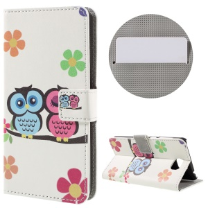 Stylish Patterned Leather Protector Cover for Huawei Y5II - Owl Couple