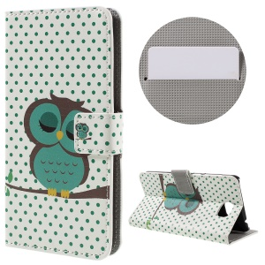 Stylish Illustration Leather Wallet Shell for Huawei Y5II - Dozing Owl