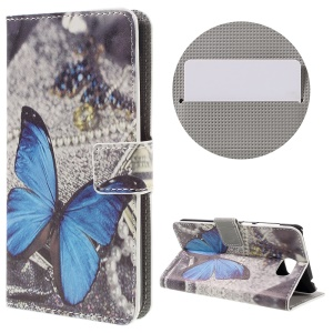 Stylish Patterned PU Leather Wallet Case for Huawei Y5II - Blue Butterfly