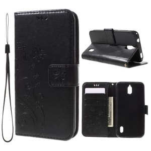 Imprint Butterfly Wallet Stand Leather Case for Huawei Y625 with Strap - Black
