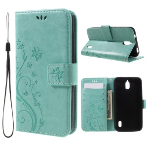 Imprint Butterfly Wallet Stand Leather Phone Cover for Huawei Y625 with Strap - Cyan