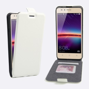Crazy Horse Leather Vertical Cover for Huawei Y3 II / Y3II - White