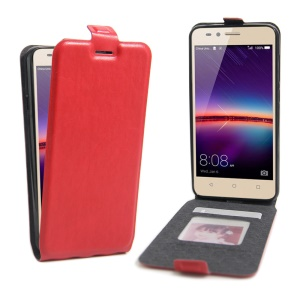 Crazy Horse Vertical Leather Card Holder Case for Huawei Y3 II / Y3II - Red