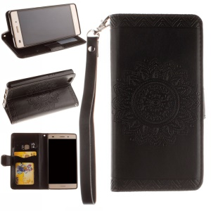 Embossed Floral Leather Wallet Stand Case for Huawei Ascend P8 Lite - Black