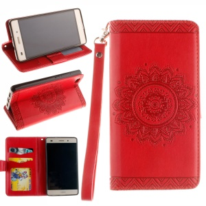 Embossed Floral Leather Wallet Stand Shell for Huawei Ascend P8 Lite - Red