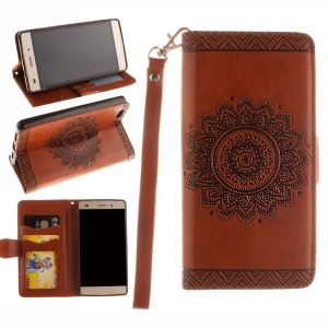 Embossed Floral Leather Wallet Phone Cover for Huawei Ascend P8 Lite - Brown