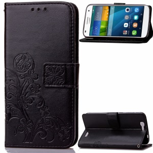 Imprint Flower Wallet Leather Case Cover for Huawei Ascend G7 - Black