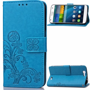 Imprint Flower Wallet Leather Flip Cover for Huawei Ascend G7 - Blue