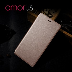 AMORUS Leather Flip Phone Cover for Huawei P9 Lite - Rose Gold